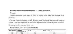 Modèle probabiliste d'ordonnancement « la durée du projet »