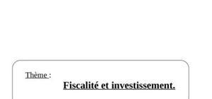 Fiscalité et investisselents