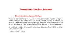 Formation de solution aqueuses - 2nde