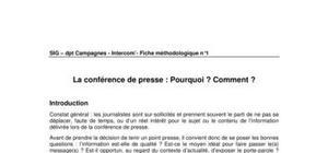 La conférence de presse: pourquoi?comment?