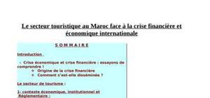Le secteur touristique au maroc face à la crise financière et économique internationale
