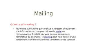 Rapport sur le mailing