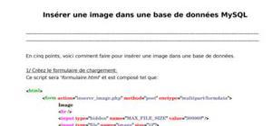 Insérer une image dans une base de données mysql