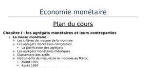 Cours de l'économie monétaire