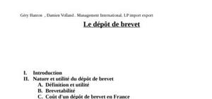 Le dépot de brevet international