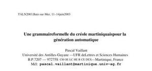 Une grammaire formelle du créole martiniquais pour la