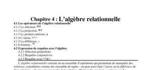 L'algèbre relationnelle