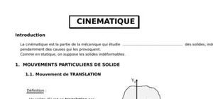 Cinematique des points