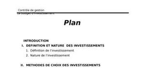 Gestion budgétaire: budget d'investissement