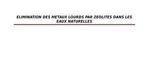 Elimination de metaux lourd par zeolite