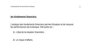 L'analyse financière de la banque.