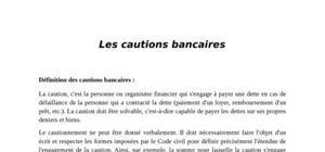 Les caution bancaire