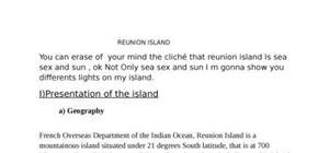 Exposé anglais sur la reunion reunion island