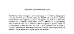 La naissance de la belgique