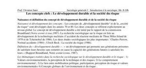Les concepts clefs : le développement durable et la société du risque