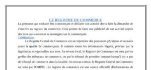 Le registe de commerce au maroc