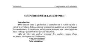 Comportement de la secretaire :