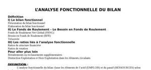 Analyse fonctionnel de bilan