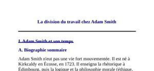 La division du travail chez adam smith