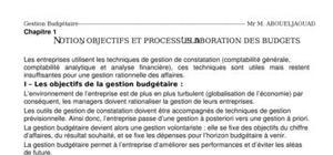 Notion, objectifs et processus d'elaboration des budgets