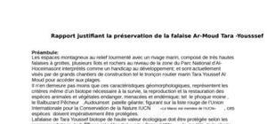 Rapport justifiant la préservation de la falaise ar-moud tara -yousssef