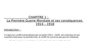La première guerre mondiale et ses conséquences