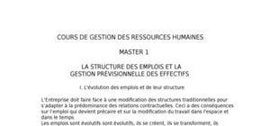 La structure des emplois et la gestion prÉvisionnelle des effectifs