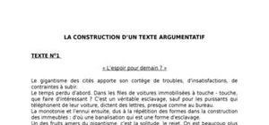 La construction d'un texte argumentatif