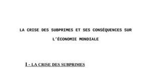 La crise des subprimes et ses consequences sur  l'economie mondiale