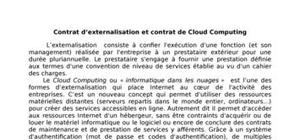 Contract d'externalisation et celui de cloud computing
