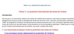 La protection internationale des droits de l'enfant