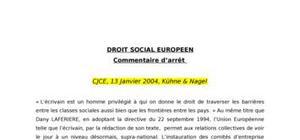 Commentaire, cjce, 2004, kühne et nigel