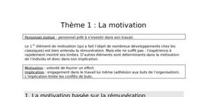 La motivation : fiche de synthèse