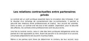 Les relations contractuelles entre partenaires privés