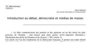 Introduction au débat, démocratie et médias de masse.