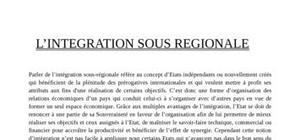 L'intégration sous régionale