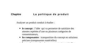 Politique de produit