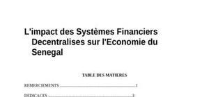 L'impact des systèmes financiers décentralises sur l'economie du sénégal