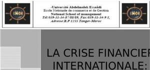 La crise financiere internationale: crash du 2008