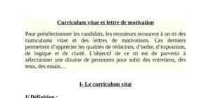 Curriculum vitae et lettre de motivation