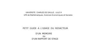 Petit guide pour preparation d'un memoire et rapport de stage