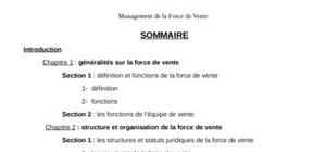 Le management de la force de vente