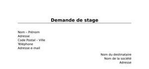 Demande De Stage Modele Gratuit De Lettre De Demande De Stage