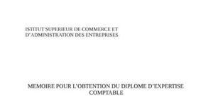 Le manuel d'organisation comptable outil de gestion et de contrôle: rôle de l'expert comptable dans sa conception et de sa mise en place