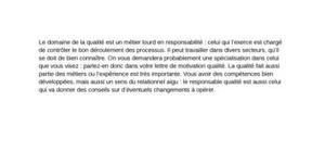 Lettre de motivation responsable qualité