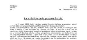 Dissertation : création de la poupée barbie