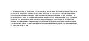 Lettre de motivation gendarmerie