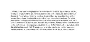 Lettre de Motivation Licence