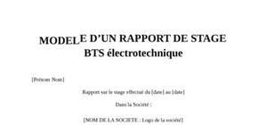 Rapport de Stage BTS électrotechnique