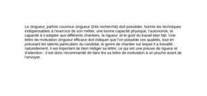 Lettre de Motivation Zingueur-Couvreur